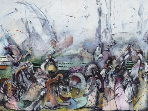 A painting by Ali Banisadr, Treasure (2016), brought to Frieze by Sperone Westwater.