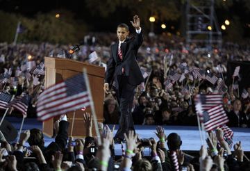 President-elect Barack Obama waves to supporters after giving his acceptance speech after it is announced he has won the presidential election at his Election Night Rally in Grant Park, Chicago, Illinois, November 4, 2008. (Chuck Kennedy/MCT)