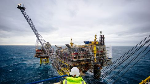 The Oseberg A offshore gas platform operated by Statoil ASA in the North Sea 140kms from Bergen, Norway.