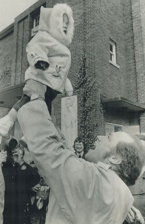 Former Prime Minister Pierre Trudeauswings a young Justin Trudeau after leaving an Ottawa polling station in 1972.