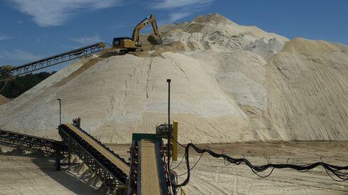 A winter stockpile of sand for Superior Silica Sands near Barron, Wisconsin.