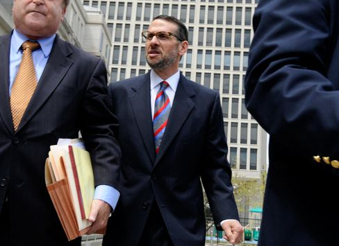 David Wildstein exits federal court with his lawyer Alan Zegas, left, in Newark, New Jersey on May 1, 2015.