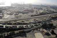 Cargo Ships and containers at Port of Long Beach