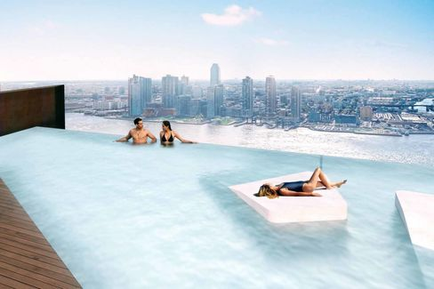 A rendering of the infinity pool.