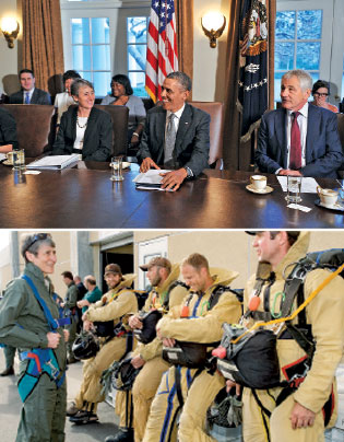 With Obama and Chuck Hagel; meeting forest firefighters in Boise
