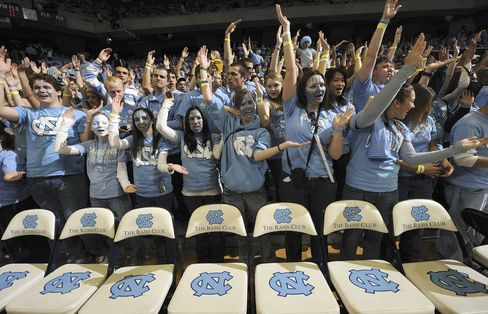 North Carolina fans in during a game vs Duke in Chapel Hill.