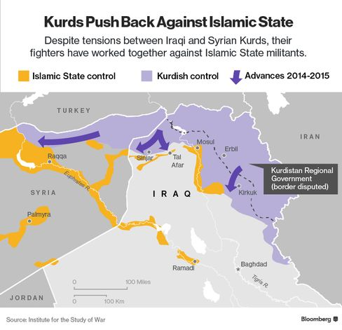 Map of Kurdish regions in Iraq and Syria