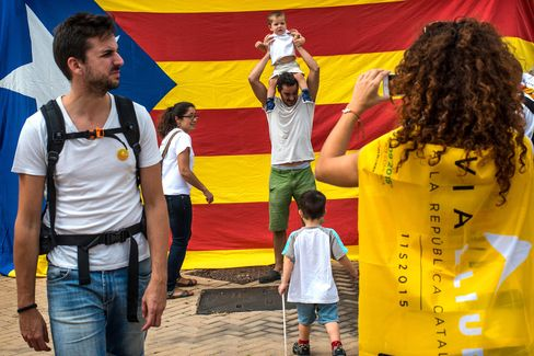 A Pro-Independence demonstration during Catalan National Day in Barcelona, on Sep. 11, 2015.