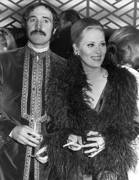 Richard Harris (1930–2002) and Faye Dunaway in London at the Royal European Charity premiere of the film Camelot, in which Harris played King Arthur.
