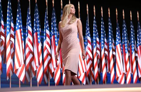 Ivanka Trump, in a dress from her own line, at the RNC.