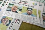 Copies of the Munhwa Ilbo newspaper featuring U.S. President Donald Trump and North Korean leader Kim Jong-un on the front page sit in a pile at the paper's printing facility in Seoul, South Korea.
