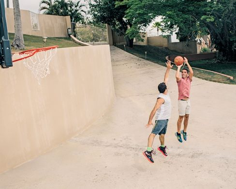 Zeines and Hurwitz have a basketball court at their six-bedroom house.