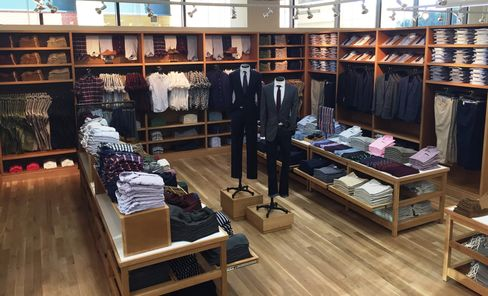 The men's section at J. Crew Mercantile in Dallas.