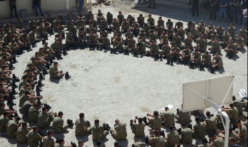 Soldiers are detained following the attempted coup, in Sirnak on July 16.