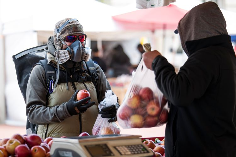 A customer wearing a protective face mask and gloves buys apples at a farmers market.