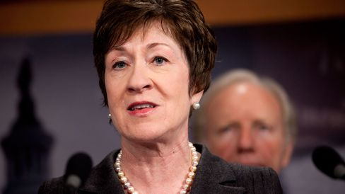 Susan Collins, a Republican from Maine, speaks during a news conference on the future of the U.S. Postal Service in Washington, D.C., U.S., on Wednesday, Nov. 2, 2011.