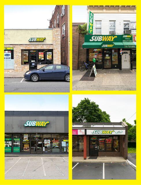 (Clockwise from top left) Subways for sale in Nutley, N.J.; Woodhaven, N.Y.; Merrick; and Verona, N.J.