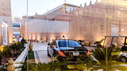 The private entrance of the prince's weekend house in Riyadh.