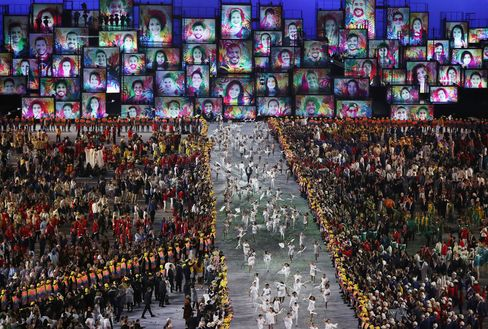 Artists preform during the opening ceremony on Aug. 5.