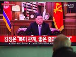 A man watches a television news screen showing a New Year speech by North Korean leader Kim Jong Un at a railway station in Seoul on January 1, 2019. - North Korea could consider a change of approach if the US maintains its sanctions on the nuclear-armed country, leader Kim Jong Un warned in his New Year speech on January 1 after 12 months of diplomatic rapprochement. (Photo by Jung Yeon-je / AFP) (Photo credit should read JUNG YEON-JE/AFP/Getty Images)
