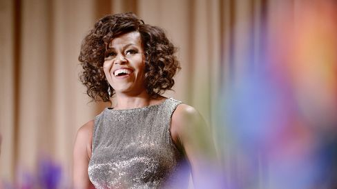 First lady Michelle Obama attends the White House Correspondents' Association dinner on April 25, 2015, in Washington.
