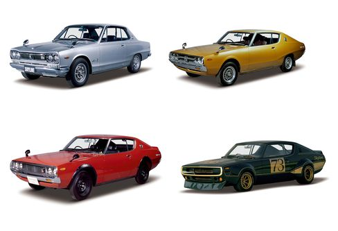 Clockwise from top left: Skyline H/T 2000GT-X (1972), Skyline H/T 2000GT-E/GTX-E (1976), Skyline H/T 2000GT-R (1973), Skyline H/T 2000GT-R (1972)