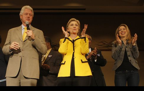 Hillary Clinton appears with her husband, former President Bill Clinton, and her daughter, Chelsea Clinton, during a campaign rally in Charleston, S.C., on Jan.25, 2008.