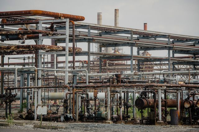 Some of the estimate 950 miles of pipes of the 1,300 acre former Philadelphia Energy Solutions refinery location, now owned by Hilco Redevelopment Partners in Philadelphia, PA U.S., on Tuesday, Aug. 10, 2021.
