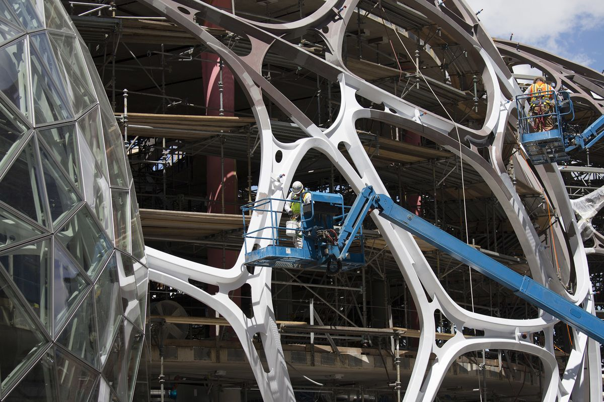 Construction continues on the spheres, on June 15, 2016.