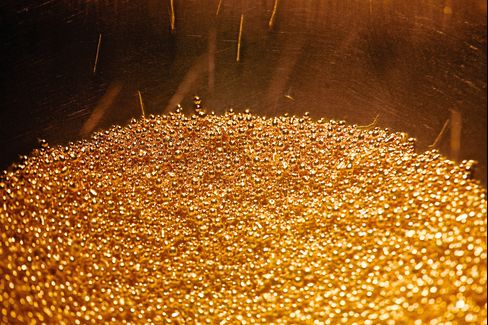 Balls of Gold are Collected During Gold Manufacturing Process