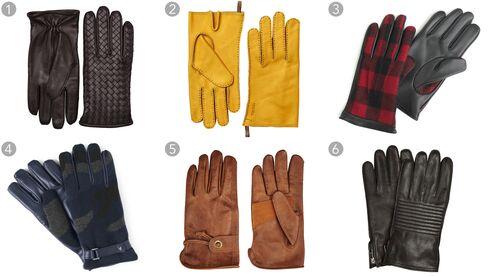 (1) Ebano nappa gloves, Bottega Veneta $480, bottegaveneta.com; (2) Jacob gloves, Hestra $115, hestragloves.com; (3) leather gloves in buffalo plaid, J.Crew $98, jcrew.com; (4)camouflage cashmere-and-leather gloves, Valentino $595, mrporter.com; (5) Gipson gloves, Belstaff $225, belstaff.com; (6) leather bikergloves, Burberry $650, burberry.com.
