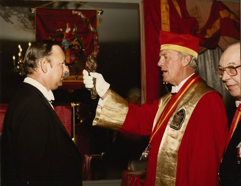 Don Stott, being inducted into the Confrérie des Chevaliers de Tastevin.