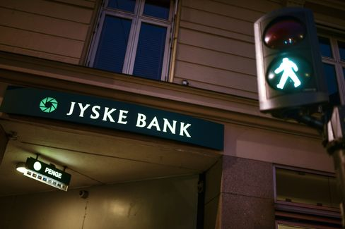 Signs Sit Outside a Jyske Bank A/S Bank Branch in Copenhagen