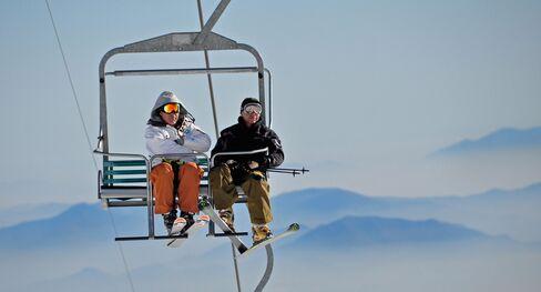 Ascending a mountain at El Colorado ski center.