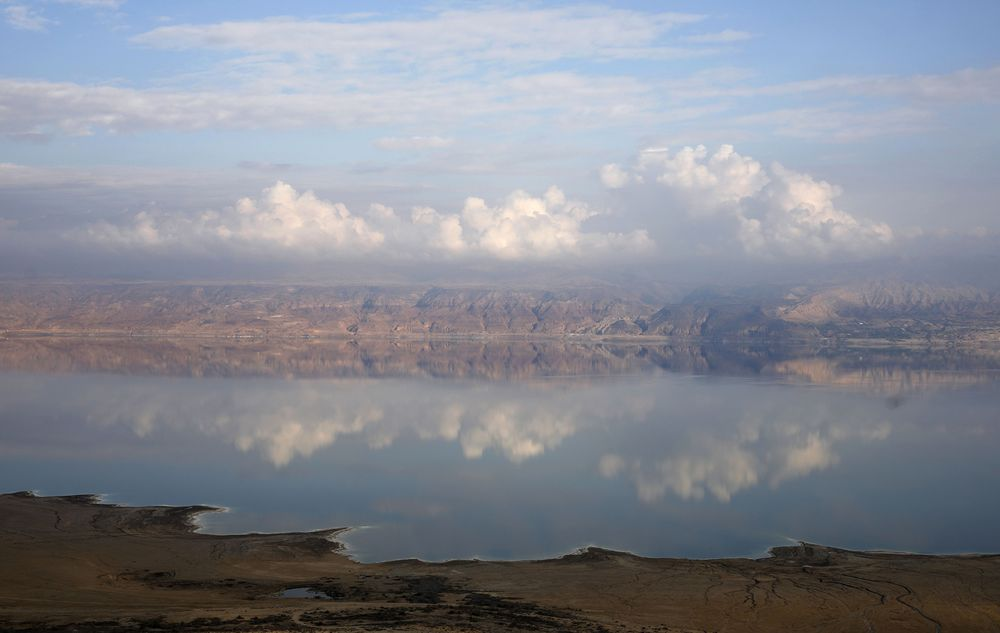 Mountains in Jordan are see beyond the Dead Sea from the West Bank on Nov. 24, 2018.