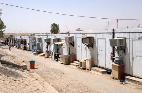 Row of air conditioned trailers that house Saudi Oger workers in Riyadh.