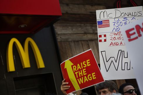 Fast-Food Protesters Demonstrate Outside McDonald's
