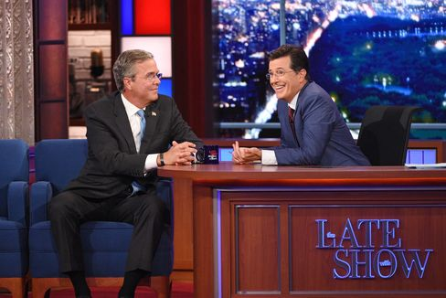 Republican Presidential candidate Jeb Bush chats with Stephen on the premiere of The Late Show with Stephen Colbert, on Sept. 8.