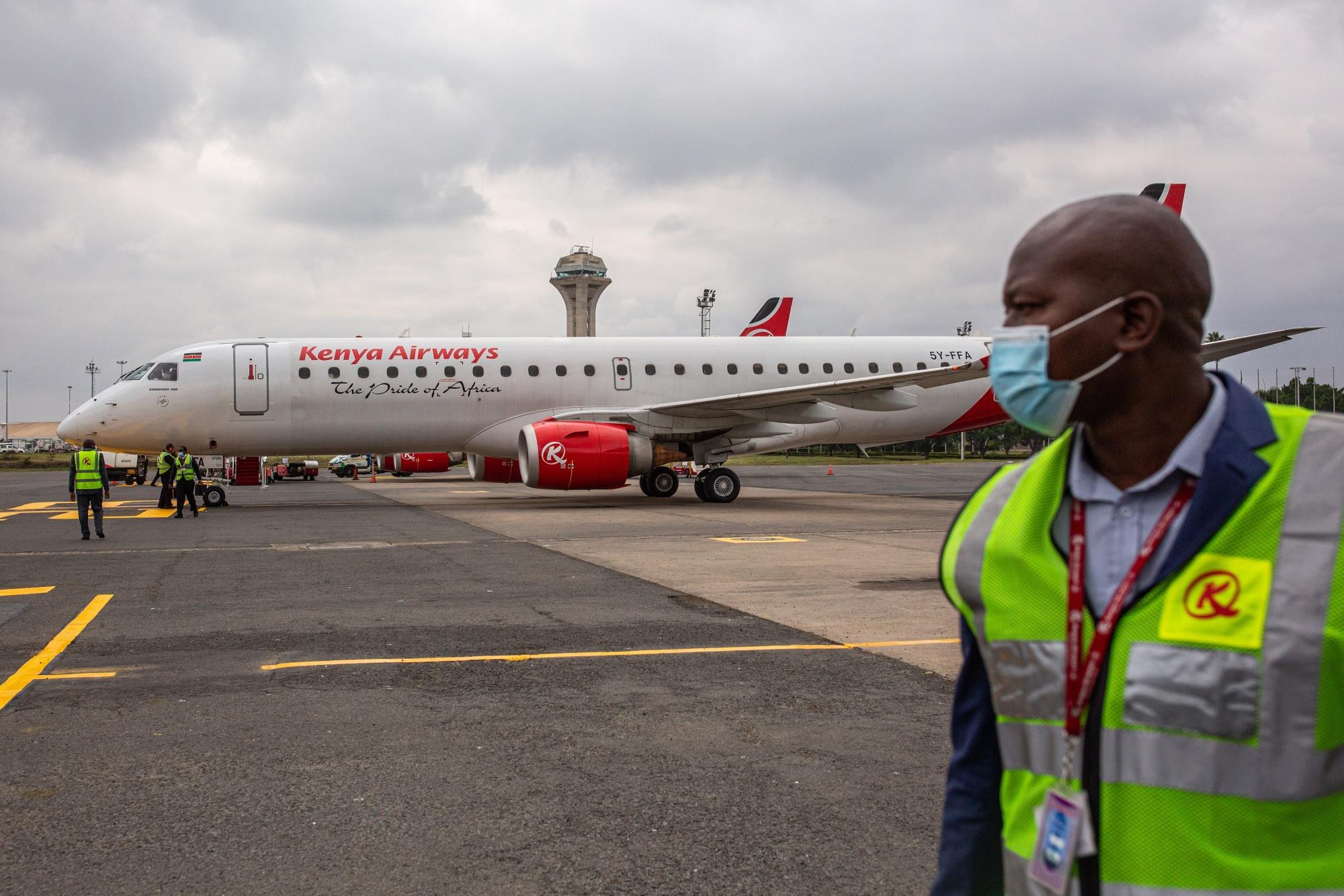 A Kenya Airways aircraft on the tarmac at Jomo Kenyatta International Airport in Nairobi.