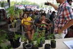 People wait to register their prescriptions for medicinal cannabis oil during the second day of the inaugural Pan Ram weed festival in the northeastern Thai province of Buriram on April 20.