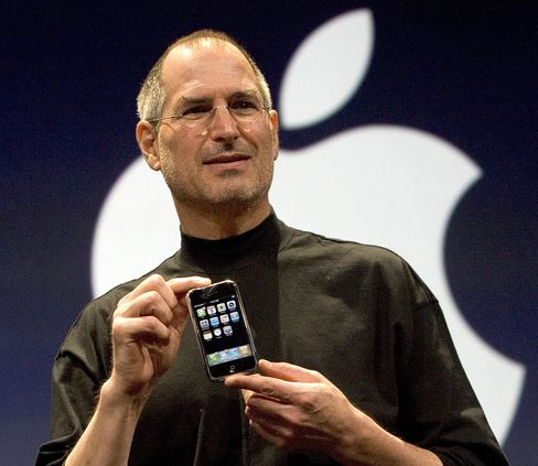 Apple's then-CEO Steve Jobs introduces the iPhone at Macworld on Jan. 9, 2007.