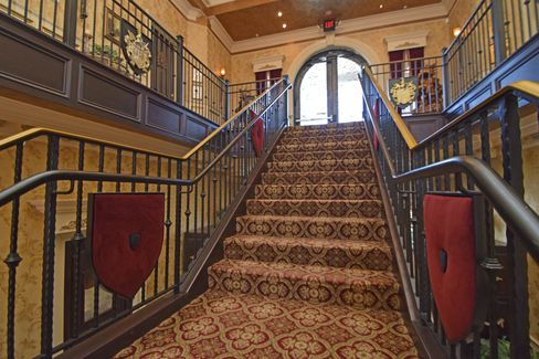 The castle's grand staircase and the great hall.