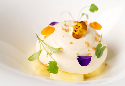 A pineapple dish by French chef Hélène Darroze, winner of the Best Female Chef award this year.