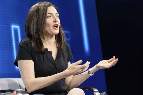 Sheryl Sandberg, chief operating officer of Facebook Inc., speaks during the WSJDLive Global Technology Conference in Laguna Beach, California, U.S., on Tuesday, Oct. 25, 2016. The conference brings together an unmatched group of top CEOs, founders, pioneers, investors and luminaries to explore tech opportunities emerging around the world. Photographer: Patrick T. Fallon/Bloomberg
