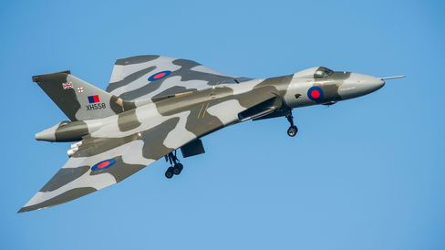 The Avro Vulcan XH558 makes a fly past on the last ever day of public display flights over the former RAF Gaydon base at the Heritage Motor Centre on October 4, 2015 in Gaydon, England.