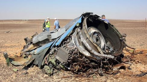 The crash site of Russian Airliner in Suez, Egypt on Nov. 1, 2015.