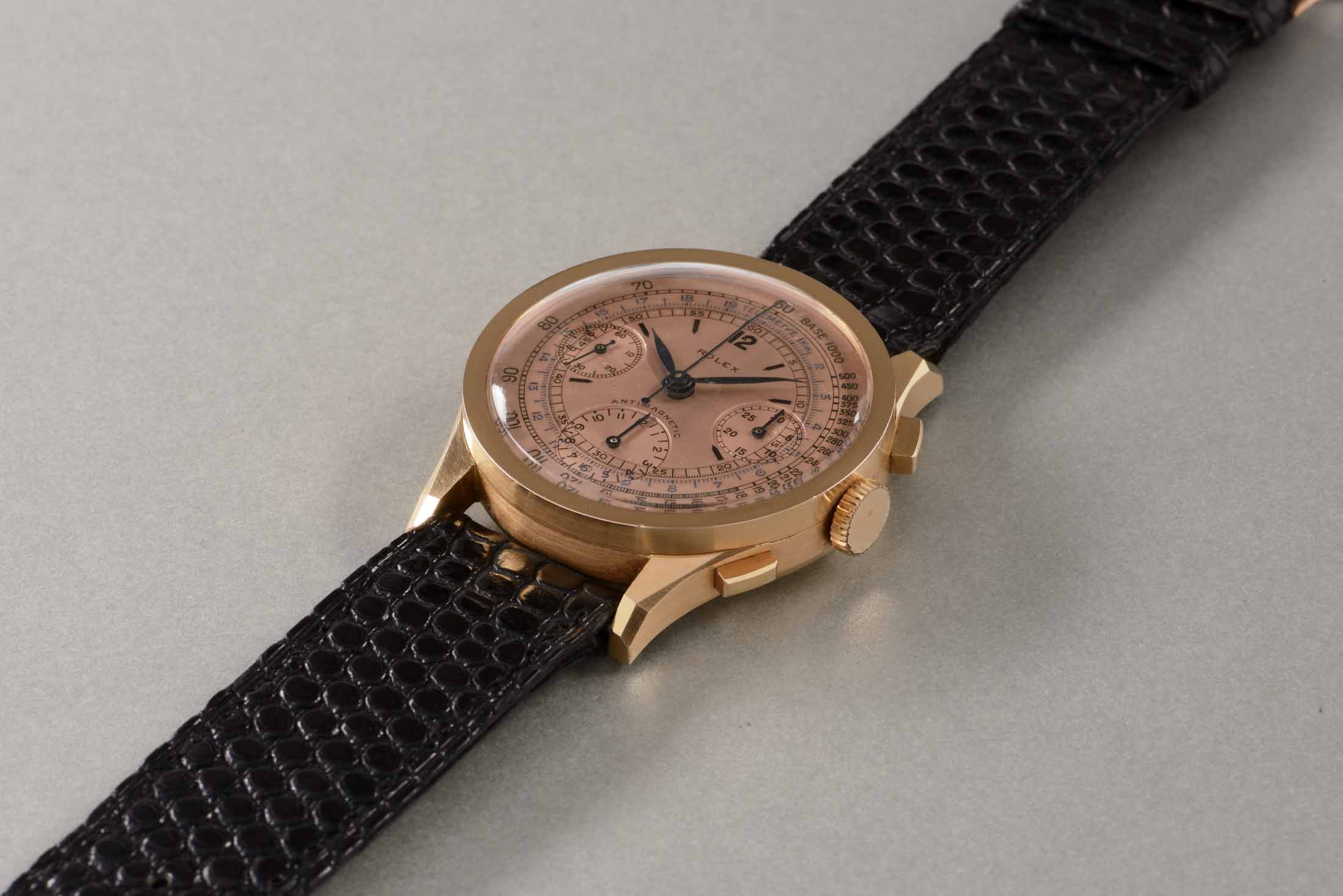 Rolex Extremely Rare Pink-Gold Antimagnetic Chronograph Wristwatch With Salmon Colored Dial