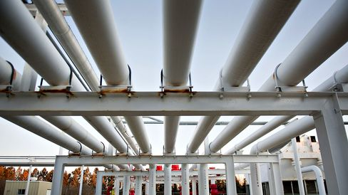 A series of pipes direct natural gas in Bismarck, North Dakota.