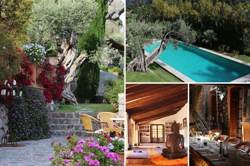 Clockwise from left: a scenic patio; the pool; food is sourced from the on-site organic garden;a spot for meditation.