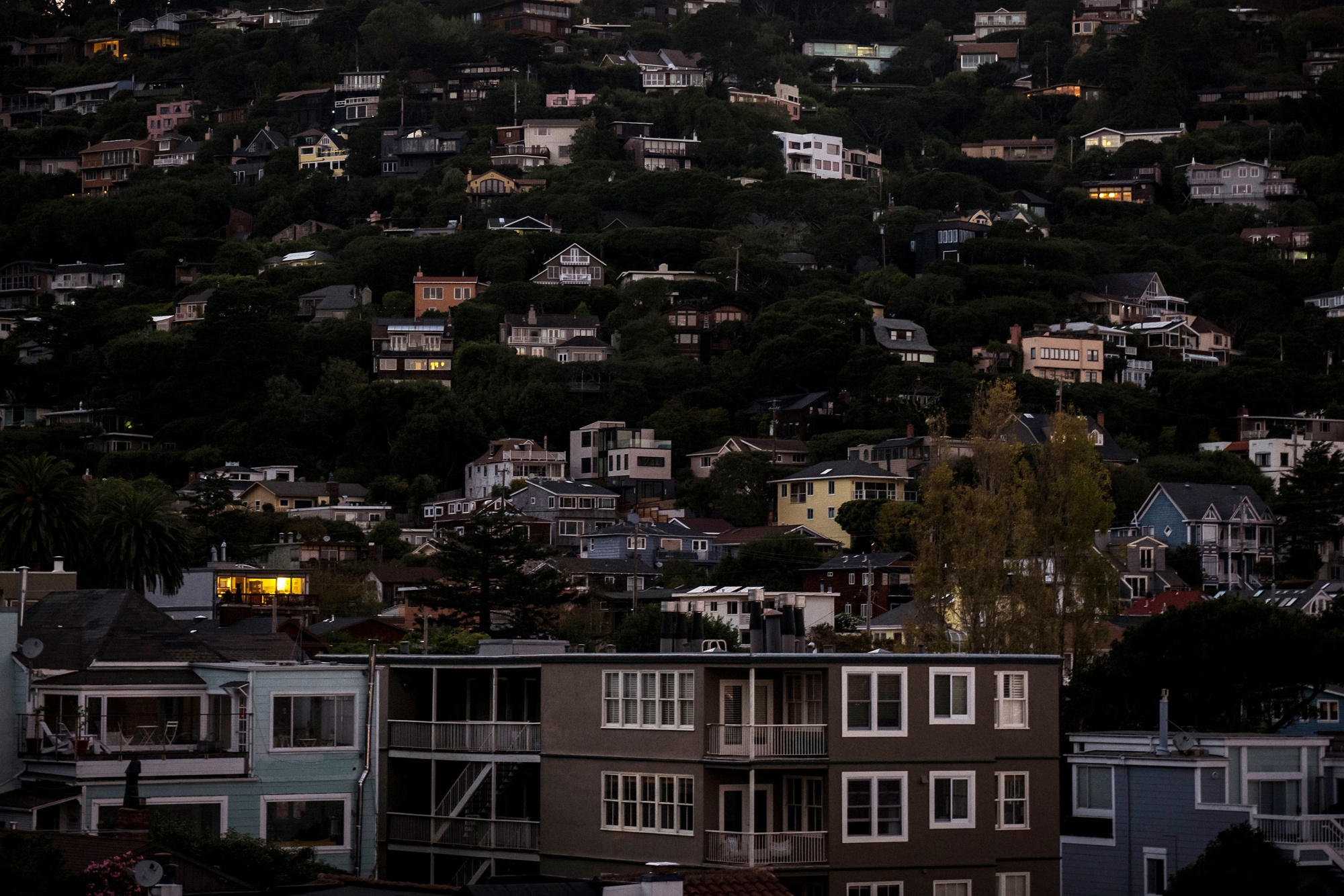 Homes during a blackout in Sausalito, California, in Oct., 2019.